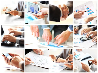 Business theme photo collage composed of different